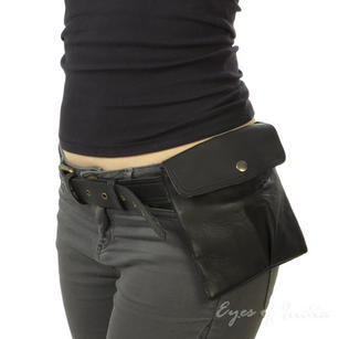 Black Leather Belt Bum Waist Hip Bag Pouch Fanny Pack Purse Pocket Clutch