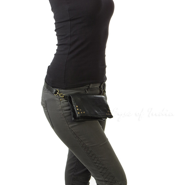 Black Leather Belt Hip Waist Pouch Bag Womens Pack Travel Purse