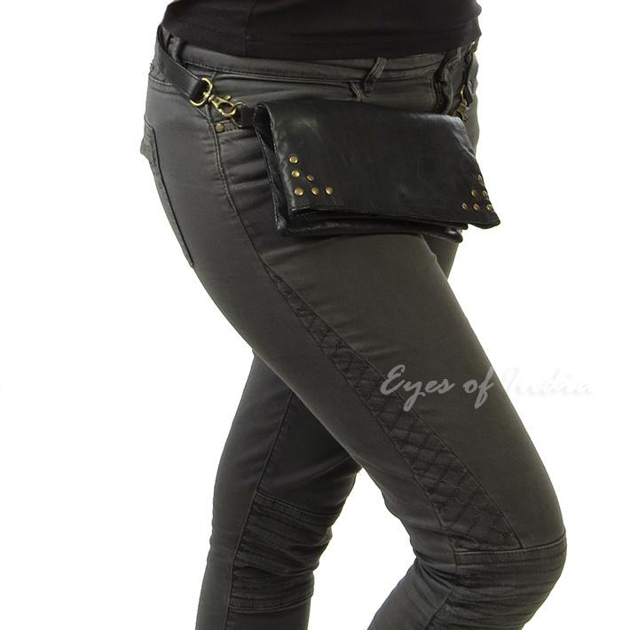 41a5222c281 Black Leather Belt Bum Hip Waist Pouch Bag Womens Fanny Pack Travel Purse