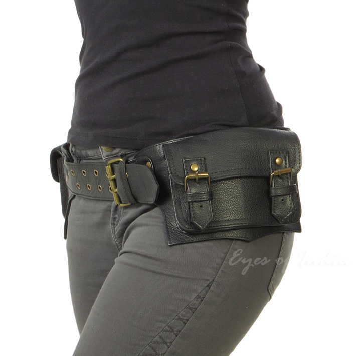 Black Or Brown Leather Double Sided Pocket Belt Bag Waist Hip Travel Pouch