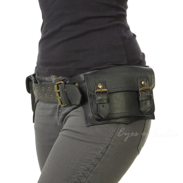 Black Or Brown Leather Double Sided Pocket Belt Bag Fanny