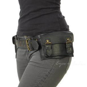 Black or Brown Leather Double-Sided Pocket Belt Bag Fanny Bum Waist Hip Bag Travel Pouch