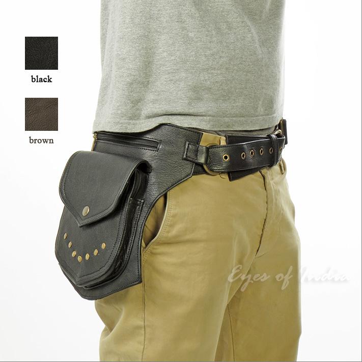 Brown Leather Pocket Belt Bag Waist Fanny Bum Hip Travel Pouch Bag