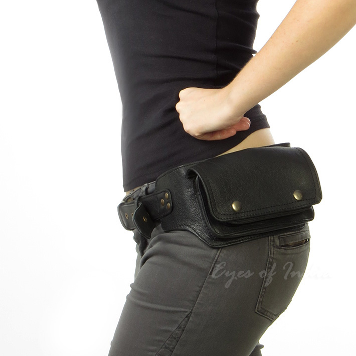 Black Leather Pocket Belt Bag Hip Waist Fanny Bum Bag