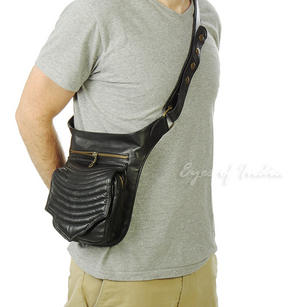 Black or Brown Leather Pocket Belt Bag Cross Body Fanny Bum Waist Hip Bag Travel Pouch