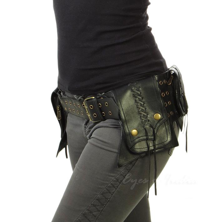 Black Or Brown Leather Pocket Belt Bag Fanny Bum Hip Waist