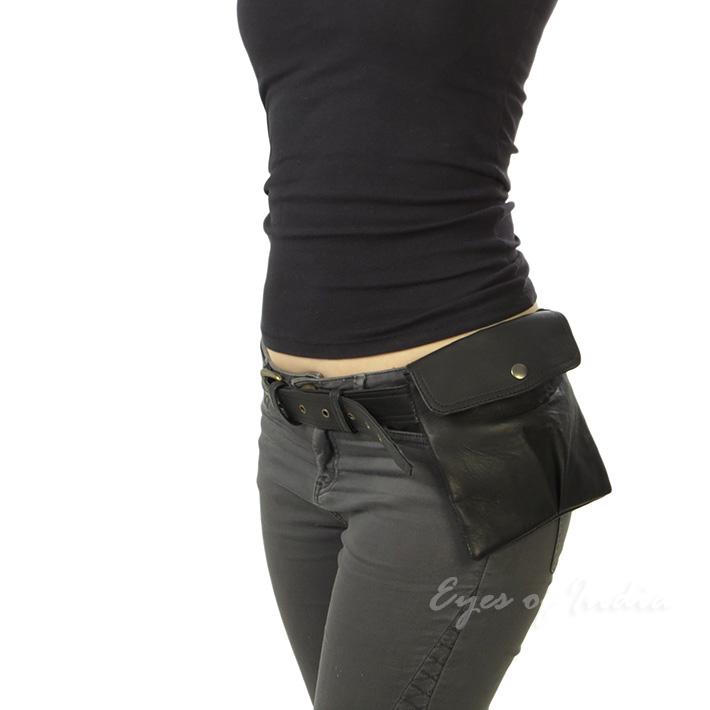 Brown Or Black Leather Pocket Belt Bag Hip Waist Travel Pouch
