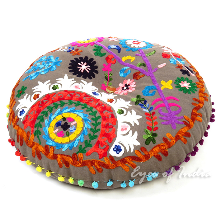 Grey Boho Gray Embroidered Round Bohemian Throw Colorful Floor Seating Meditation Pillow Cushion Cover - 24""