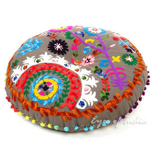 Grey Boho Embroidered Round Bohemian Throw Floor Seating Meditation Pillow Cushion Cover - 24""