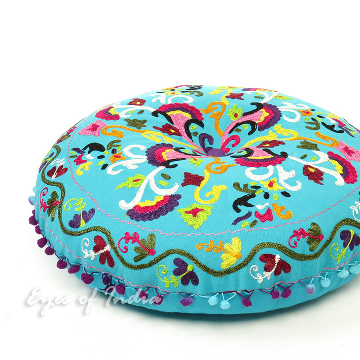 How To Make Round Floor Pillows : Light Blue Bohemian Round Embroidered Decorative Seating Floor Meditation Cushion Pillow Cover ...