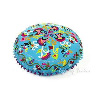 Light Blue Bohemian Round Embroidered Decorative Seating Floor Meditation Cushion Pillow Cover - 24""