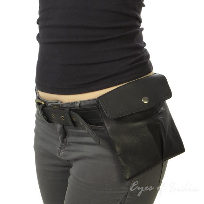 57629a563d40 Details about Brown or Black Leather Belt Bum Waist Hip Bag Pouch Fanny  Pack Purse Pocket Clut