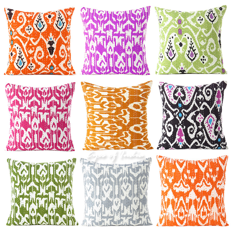 Kantha Colorful Decorative Bohemian Boho Pillow Couch Sofa Cushion Throw Cover - 16""