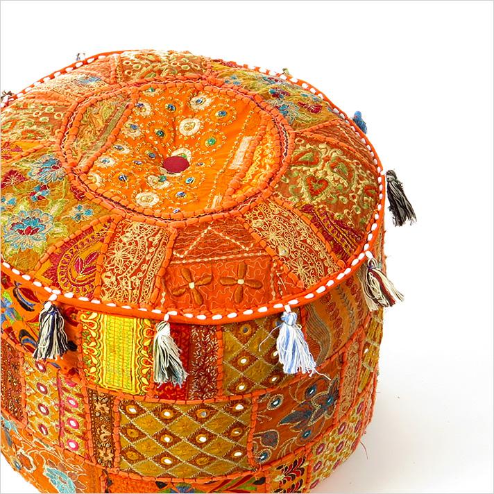 """Small Orange Boho Patchwork Round Bohemian Ottoman Pouf Pouffe Cover - 17 X 12"""""""