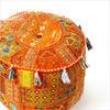 """Small Orange Boho Patchwork Round Bohemian Ottoman Pouf Pouffe Cover - 17 X 12"""" 1"""