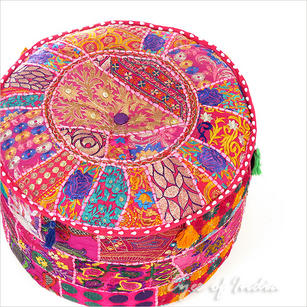 """Small Pink Boho Patchwork Round Pouf Pouffe Bohemian Ottoman Cover - 17 X 12"""""""
