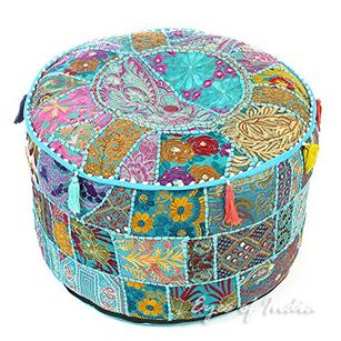 Small Light Blue Bohemian Patchwork Round Pouf Pouffe Boho Ottoman Cover - 17 X 12""