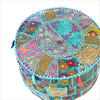 "Small Light Blue Bohemian Patchwork Round Pouf Pouffe Boho Ottoman Cover - 17 X 12"" 1"