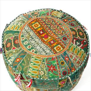 """Small Green Bohemian Patchwork Round Pouf Pouffe Boho Ottoman Cover - 17 X 12"""""""