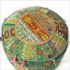"""Small Green Bohemian Patchwork Round Pouf Pouffe Boho Ottoman Cover - 17 X 12"""" 1"""