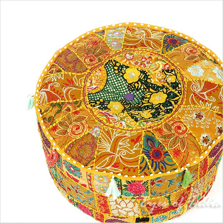 """Small Yellow Patchwork Boho Bohemian Ottoman Pouf Pouffe Cover Round - 17 X 12"""""""