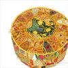 """Small Yellow Patchwork Boho Bohemian Ottoman Pouf Pouffe Cover Round - 17 X 12"""" 1"""