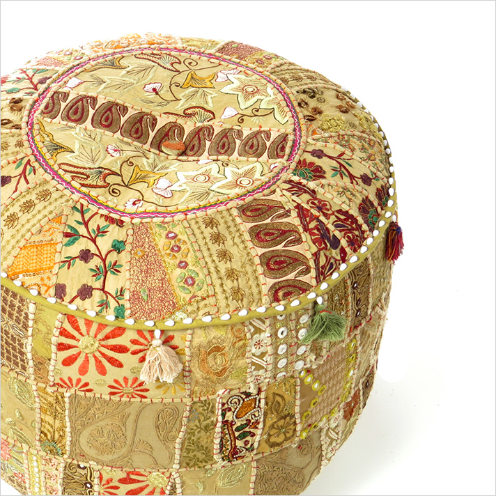 Small Light Brown Boho Patchwork Round Pouf Pouffe Bohemian Ottoman Cover - 17 X 12""
