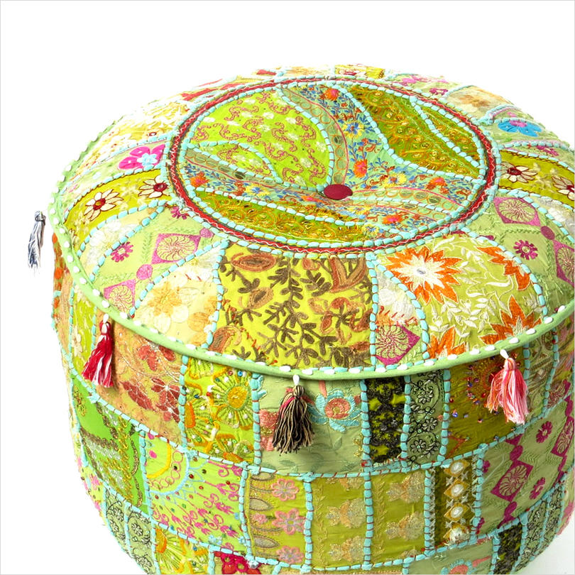 Small Light Green Patchwork Round Boho Bohemian Ottoman Pouf Pouffe Cover - 17 X 12""