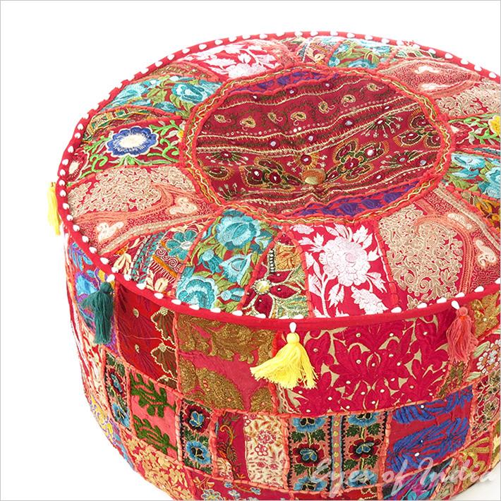 "Small Red Patchwork Round Pouf Pouffe Boho Bohemian Ottoman Cover - 17 X 12"""