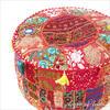 "Small Red Patchwork Round Pouf Pouffe Boho Bohemian Ottoman Cover - 17 X 12"" 1"
