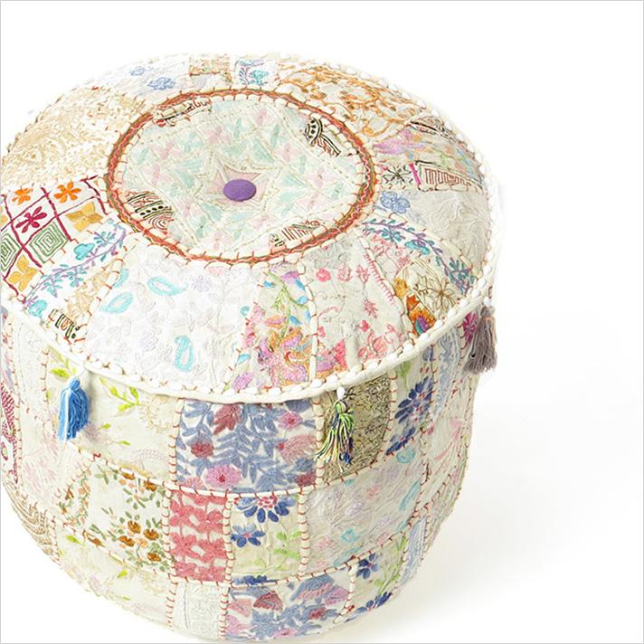 """Small White Patchwork Round Pouf Pouffe Boho Bohemian Ottoman Cover - 17 X 12"""""""