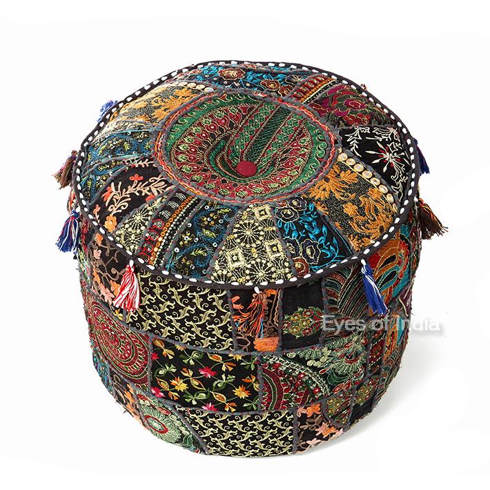 """Small Black Patchwork Round Boho Bohemian Ottoman Pouf Pouffe Cover - 17 X 12"""""""