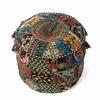 """Small Black Patchwork Round Boho Bohemian Ottoman Pouf Pouffe Cover - 17 X 12"""" 1"""