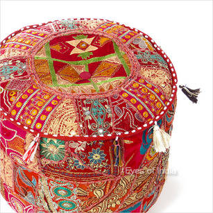 Small Burgundy Red Boho Bohemian Patchwork Round Ottoman Pouf Pouffe Cover - 17 X 12""