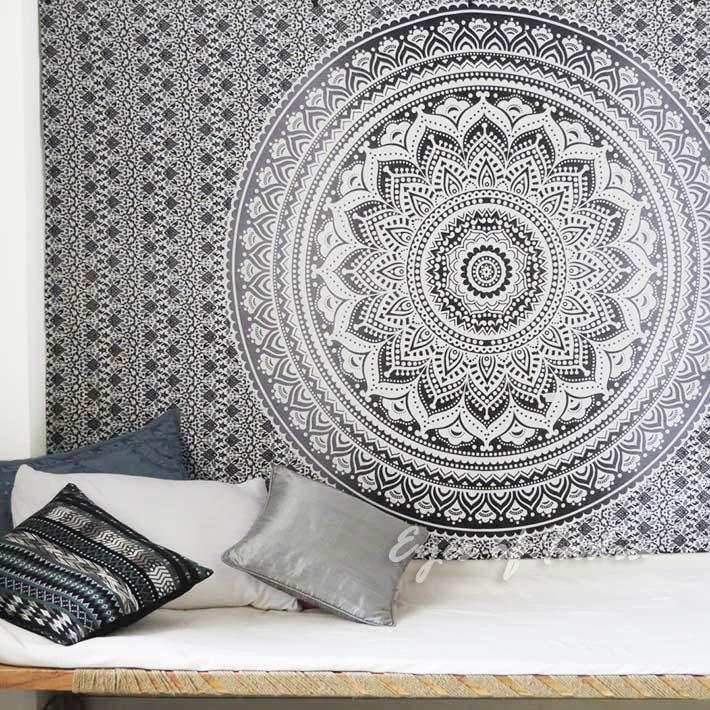 Petit Simple Noir Blanc Tenture Murale Mandala Ombre Couvre Lit