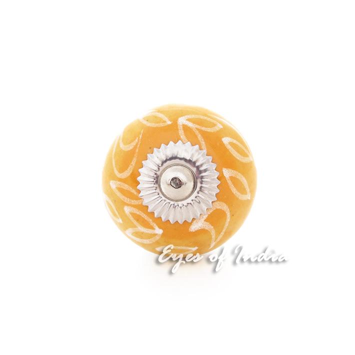 Eyes of India Set of 2 Blue Orange Ceramic Cabinet Dresser Door Cupboard Knobs Pulls Shabby Ch