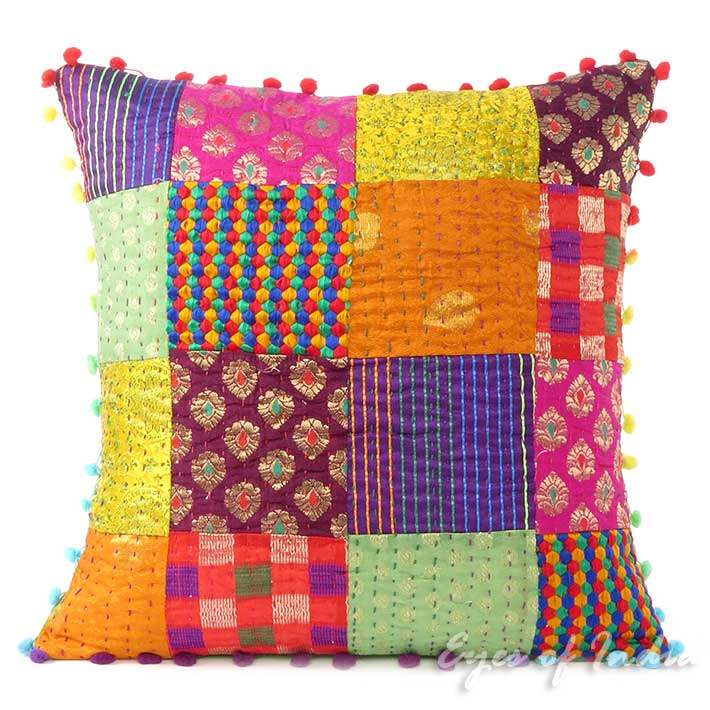 Colorful Vintage Kantha Brocade Throw Sofa Cushion Boho Couch Pillow Cover 16 20