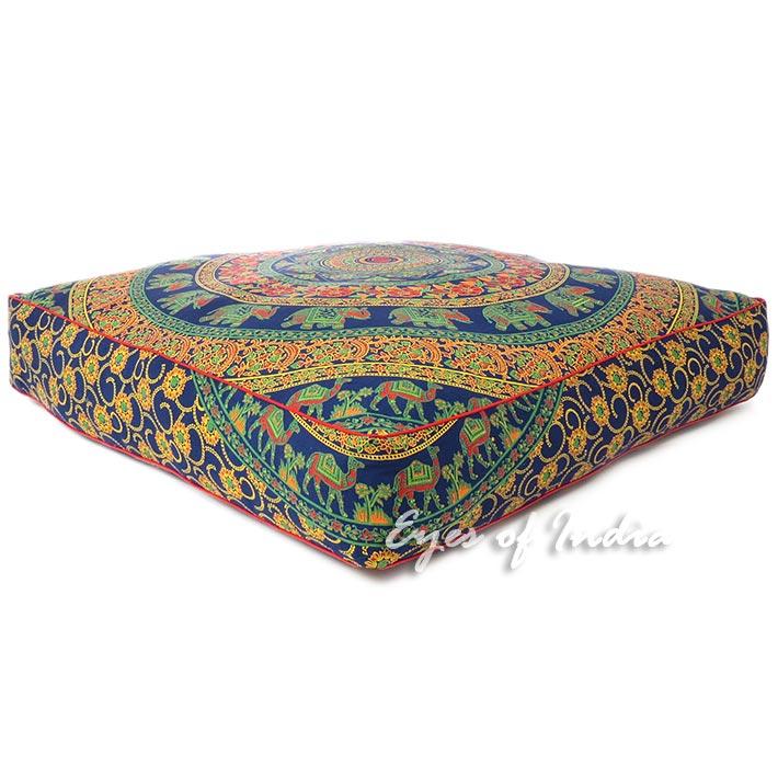 """Blue Oversized Boho Mandala Large Square Floor Pillow Meditation Cushion Pouf Dog Bed Seating Cover - 35"""""""
