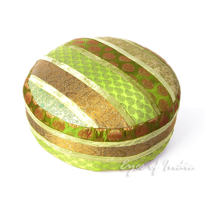 "24 X 10"" Large Green Brocade Round Ottoman Pouf Pouffe Cover Floor Seating India"