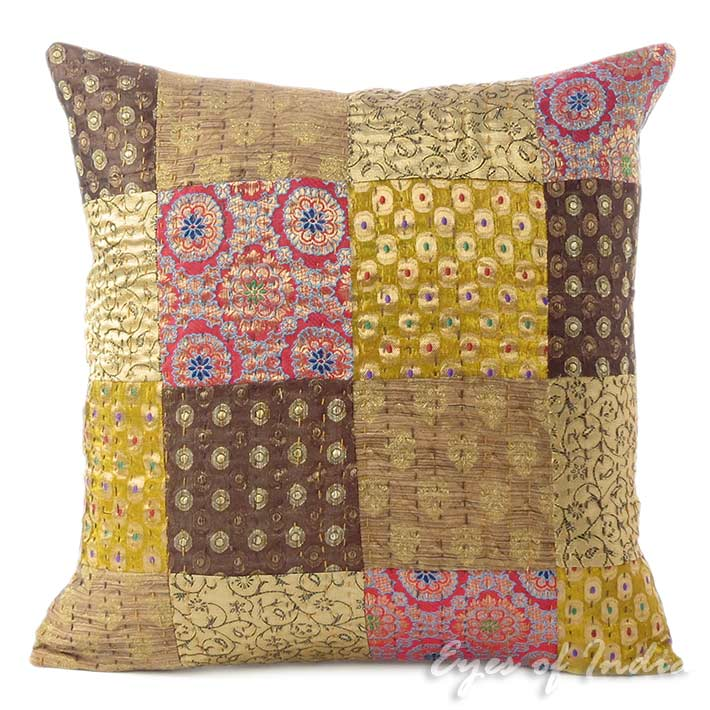 Brown Kantha Brocade Boho Bohemian Colorful Throw Sofa Couch Cushion Pillow Cover - 16""