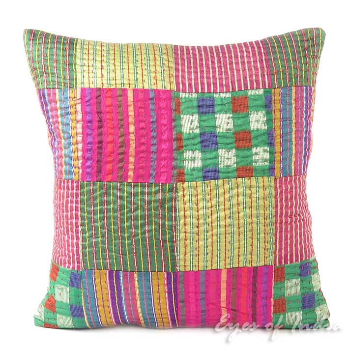 Colorful Brocade Kantha Throw Boho Bohemian Sofa Couch Cushion Pillow Cover - 16""