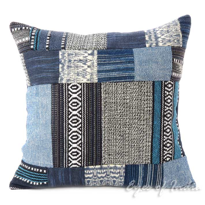 Blue Patchwork Colorful Decorative Dhurrie Throw Sofa Cushion Couch Pillow Boho Bohemian Cover - 16""