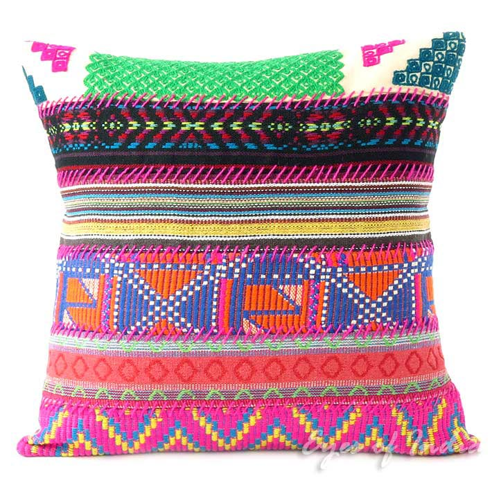Pink Dhurrie Patchwork Colorful Throw Boho Bohemian Sofa Couch Cushion Pillow Cover - 16, 24""