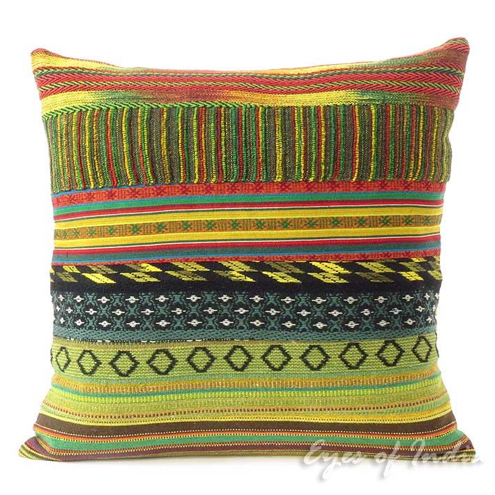 "Yellow Dhurrie Patchwork Throw Boho Bohemian Couch Sofa Cushion Pillow Cover - 16"""