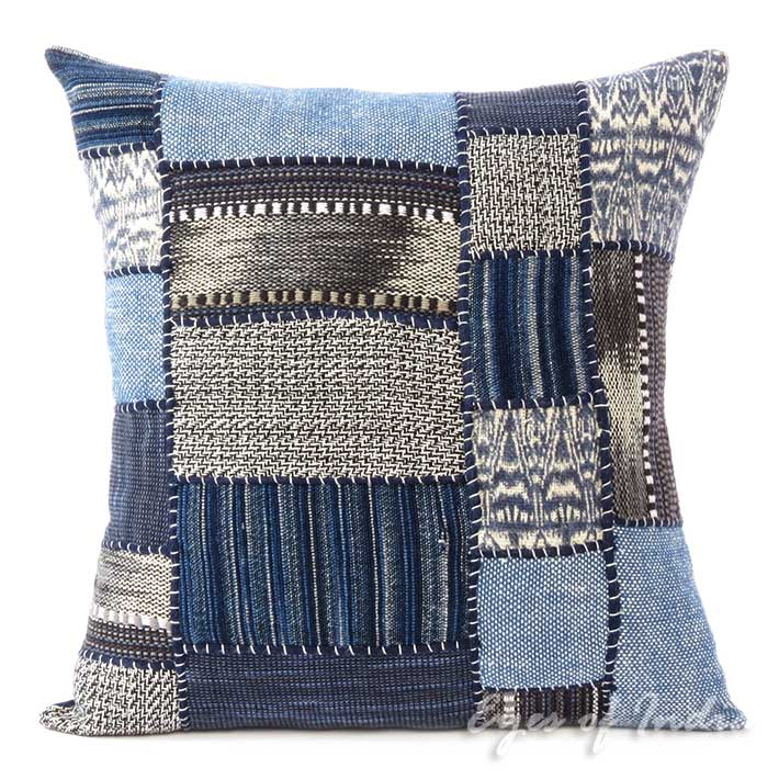 Indigo Blue Bohemian Boho Patchwork Pillow Cover Couch Cushion Sofa Throw - 16""