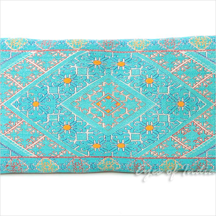 Turquoise Teal Embroidered Swati Bolster Long Lumbar