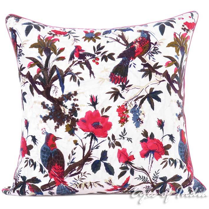 White Velvet Colorful Decorative Bird Throw Sofa Boho Bohemian Cushion Couch Pillow Cover 16