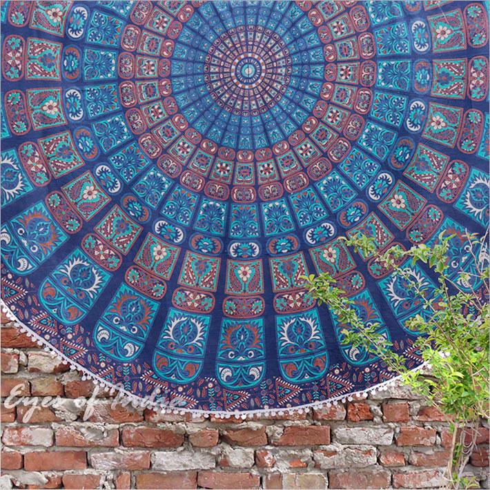 "Blue Roundie Beach Throw Picnic Spread Mandala Hippie Tapestry Mat Boho Bohemian - 80"""