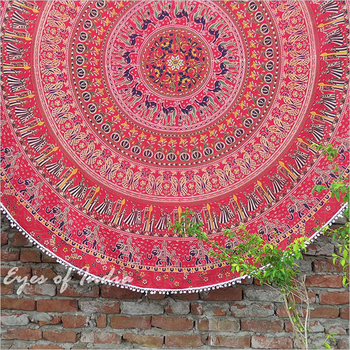 Red Roundie Beach Mat Picnic Spread Mandala Hippie Bohemian Tapestry Boho Throw - 80""