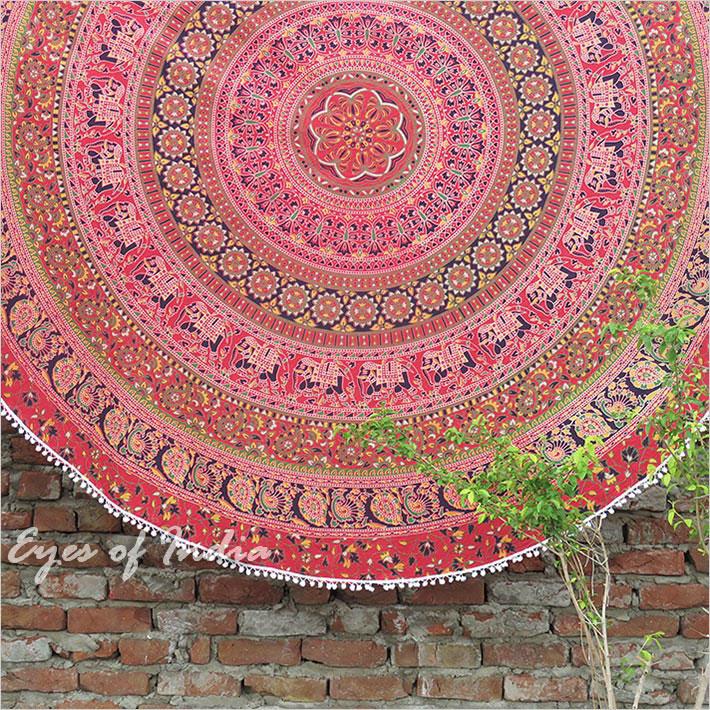 "80"" Red Roundie Beach Throw Picnic Mat Spread Hippie Mandala Tapestry Boho Bohemian"